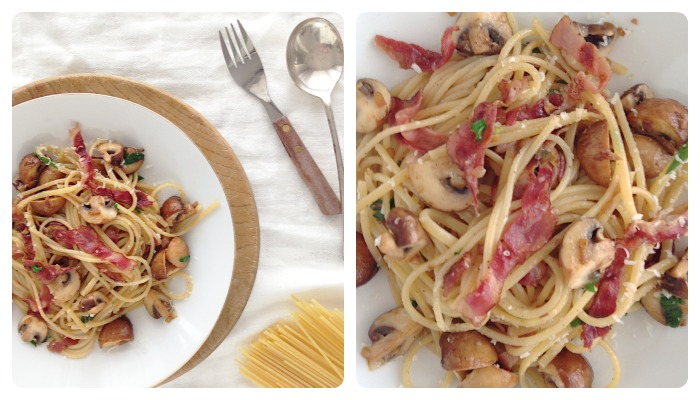 pasta mushrooms bacon recipe